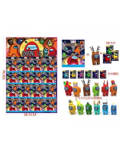 Among US Амонг Ас DS2263 герои 3-3,5' + 3 карточки в пакете, 12 видов, 16 шт на листе 59*38,5 см