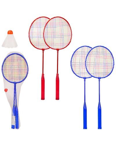 Бадминтон BD2002 2 цвета, 2 ракетки, воланчик, в сетке, р-р ракетки – 17.5*50 см