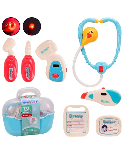 Доктор 660-76 батар,свет,стетокоп,гразусник, молоточек,аксес,в чемодане 24*9*22 см