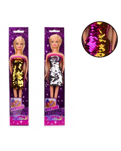 Кукла 68179/81 платье в пайетках, 2 цвета, в откр.кор. 7*4*34 см, р-р игрушки – 29 см