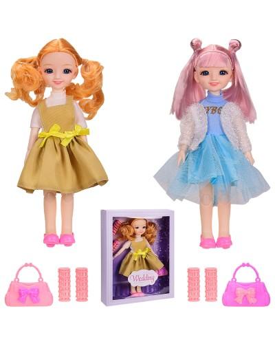 Кукла YL205-11/12 2 вида, сумочка, бигуди, в коробке - 25*6*32.5 см, р-р игрушки – 29 см