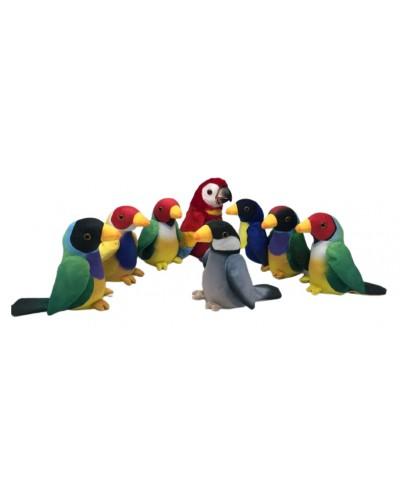 Мягкая игрушка-повторюшка M1984 попугай, повторяет голос, шевелит клювом, 4 цвета, 18см