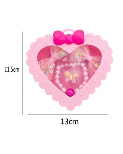Аксессуары для девочек A086-1 в шкатулке сердце 11,5*13 см
