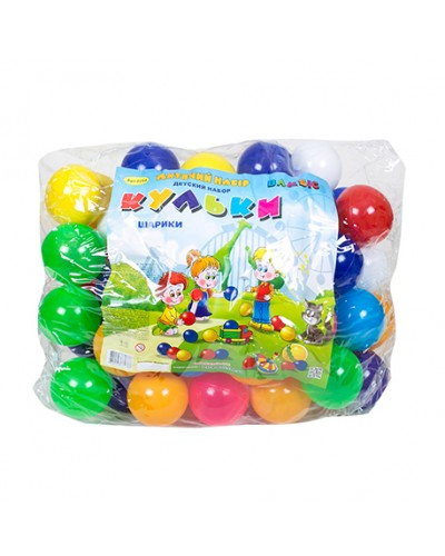 """Набір дитячий """"Кульки"""" арт 0264, диам 8 см, сумка 65 шт"""