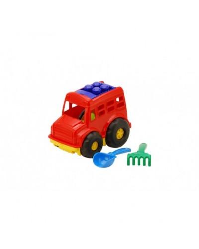 Детский набор: автобус, лопатка, грабли