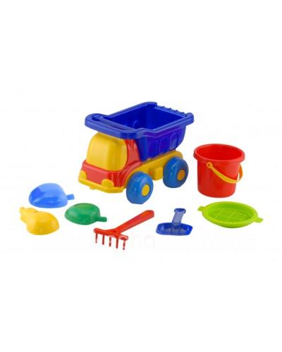 Детский набор: машинка, ведерко, сито, лопатка, грабли, три пасочки