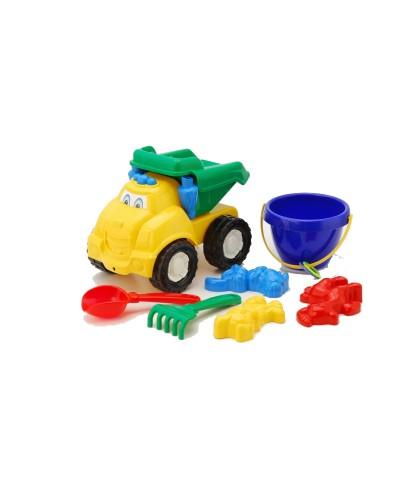 Детский набор: машинка, ведерко, лопатка, грабли, три пасочки