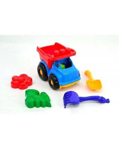 Детский набор: машинка, лопатка, грабли, две большие пасочки