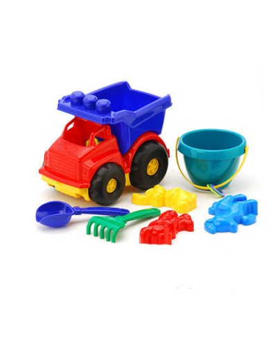Детский набор машинка, ведерко, лопатка, грабли, три пасочки