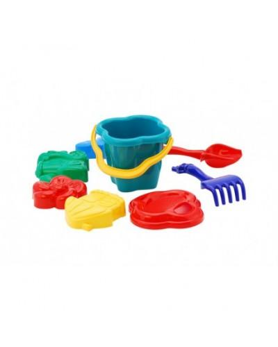 Песочный набор: ведерко, сито, лопатка, грабли, чотири пасочки