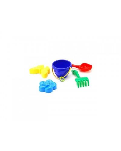 Песочный набор: ведерко, лопатка, грабли, две большие пасочки