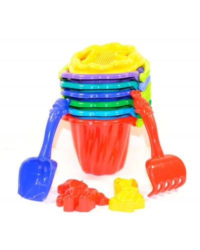 Песочный набор: ведерко, сито, лопатка, грабли, три пасочки