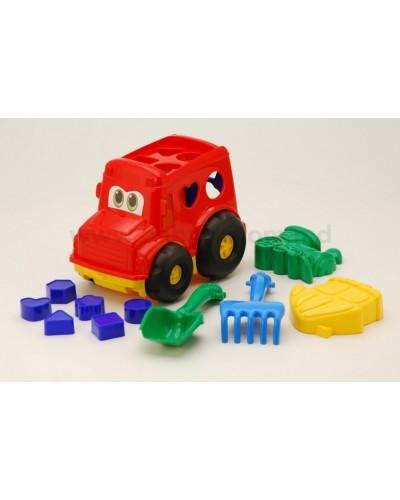 Детский набор: автобус з вкладишами, лопатка, грабли, две пасочки