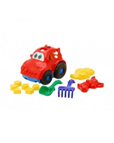 Детский набор: машинка з вкладишами, лопатка, грабли, две пасочки