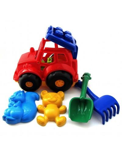 Детский набор: трактор, лопатка, грабли, две большие пасочки